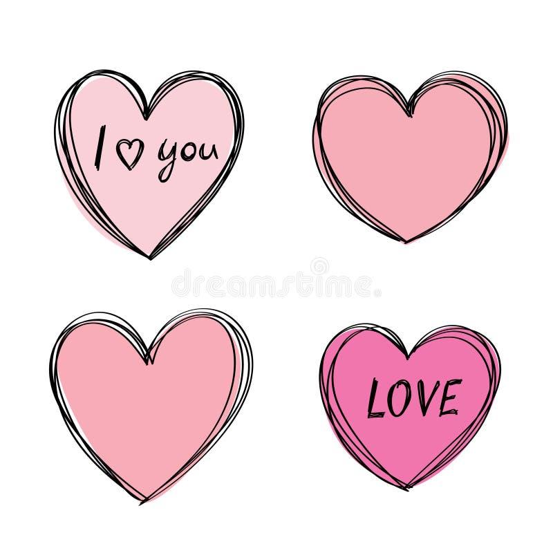 Hand getrokken hartkader Leuke onzorgvuldige overzichten, verse roze kleur Bewogen vul stock illustratie