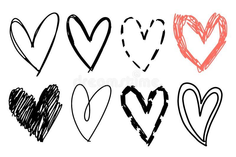 Hand getrokken hartreeks Ruwe die tellersharten op witte achtergrond worden ge?soleerd Vectorelementen voor grafisch ontwerp royalty-vrije illustratie