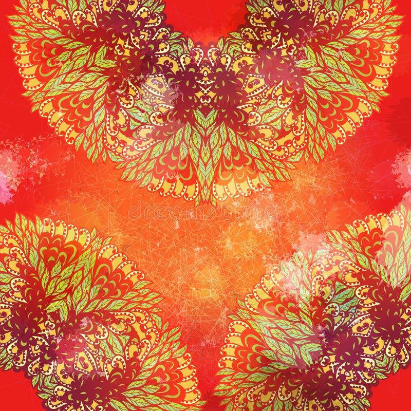 Hand getrokken helder de zomer grunge ornament stock illustratie