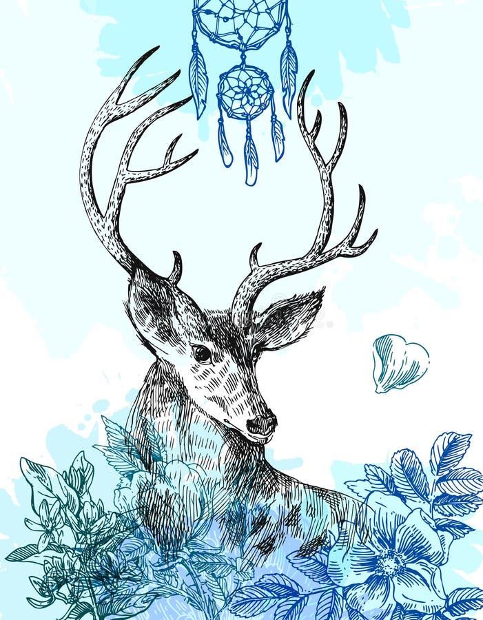 Hand Getrokken Herten royalty-vrije illustratie