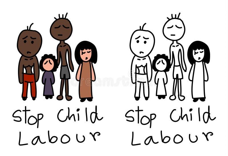 Hand getrokken het beeldverhaalvector van de eindekinderarbeid royalty-vrije illustratie
