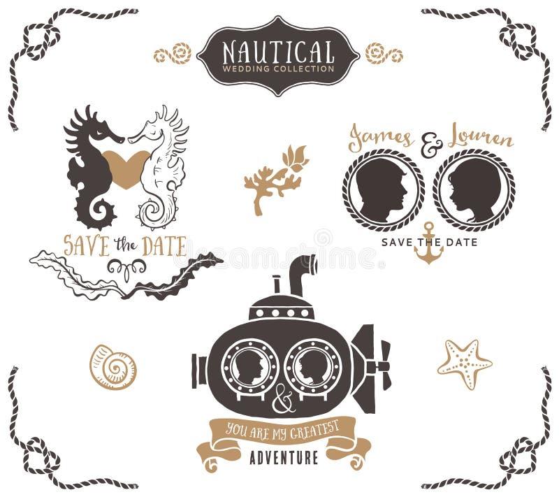 Hand getrokken het embleemmalplaatjes van de huwelijksuitnodiging in zeevaartstijl royalty-vrije illustratie