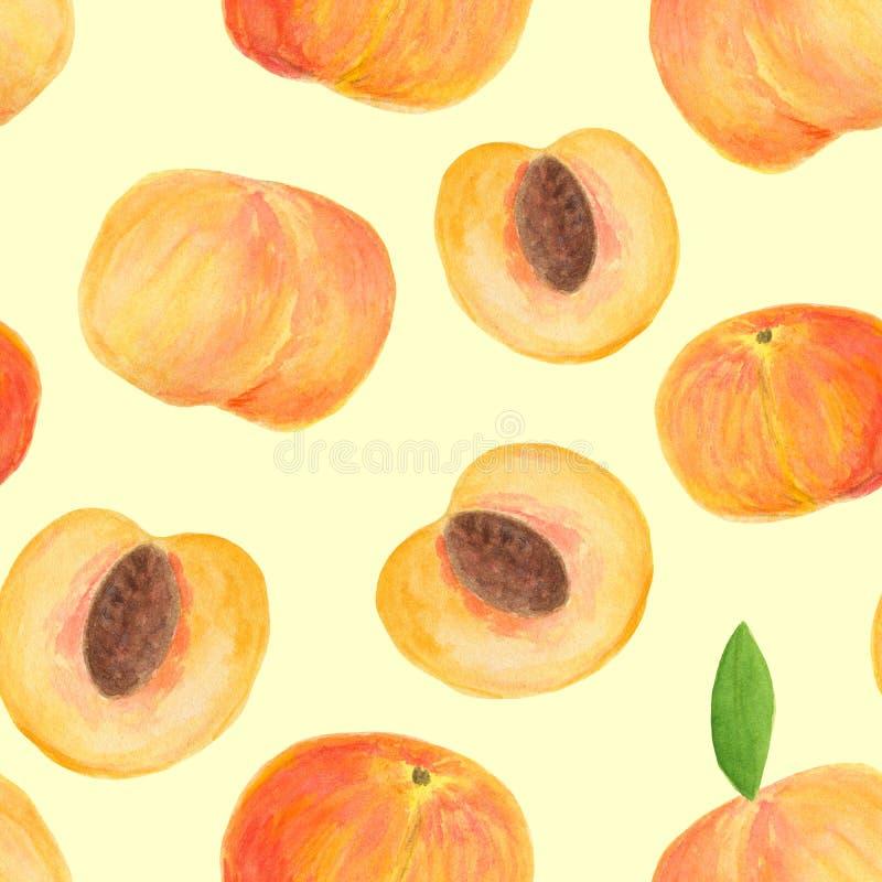 Hand getrokken het fruit naadloos patroon van de waterverfperzik stock foto
