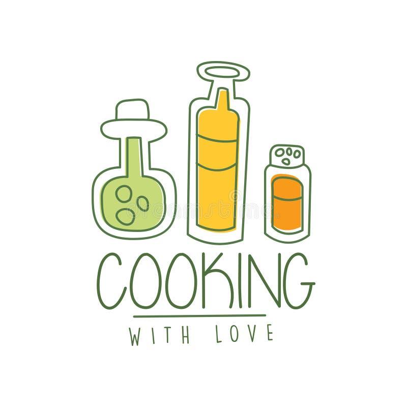 Hand getrokken het koken embleem origineel ontwerp met soep met groenten in een pan Lijnetiket voor koffie, de leveringsdienst stock illustratie