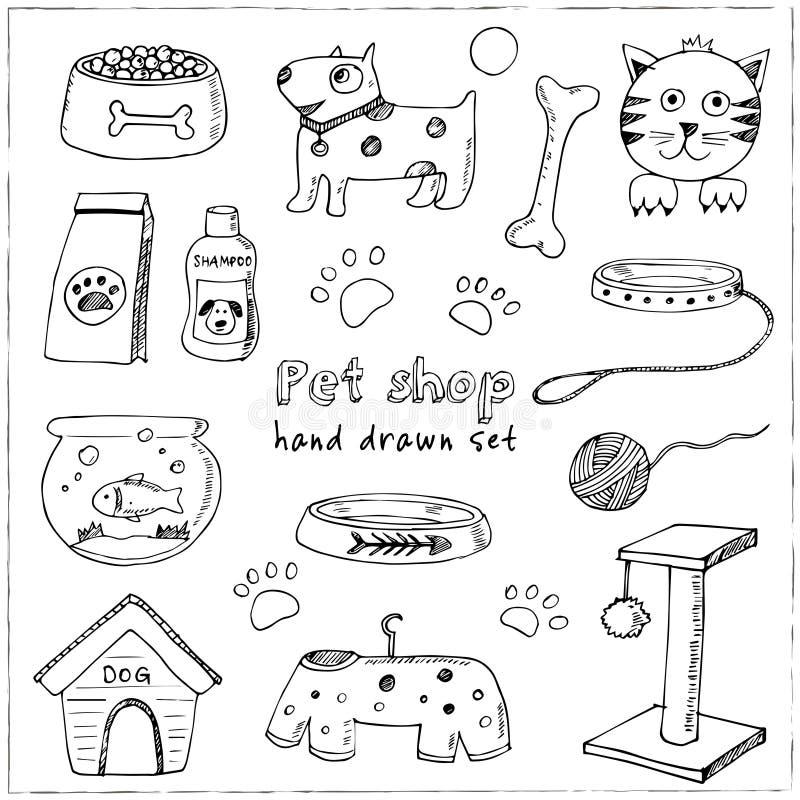 Hand getrokken het materiaal en de leverings geplaatste pictogrammen van krabbelhuisdieren Vector illustratie De inzameling van h vector illustratie