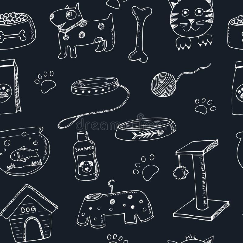 Hand getrokken het materiaal en de leveringspictogrammen naadloos patroon van krabbelhuisdieren Vector illustratie De inzameling  royalty-vrije illustratie