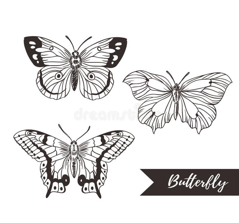 Hand getrokken het ontwerpinzameling van het vlinderembleem vector illustratie