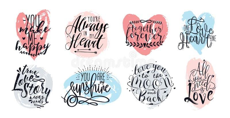 Hand getrokken het van letters voorzien reeks met romantische uitdrukkingen over liefde Vectorinschrijvingeninzameling op witte a vector illustratie