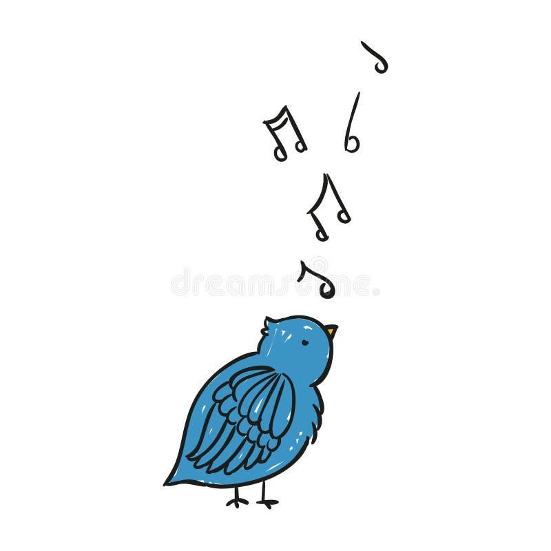 Hand Getrokken het Zingen Blauwe Vogel royalty-vrije illustratie