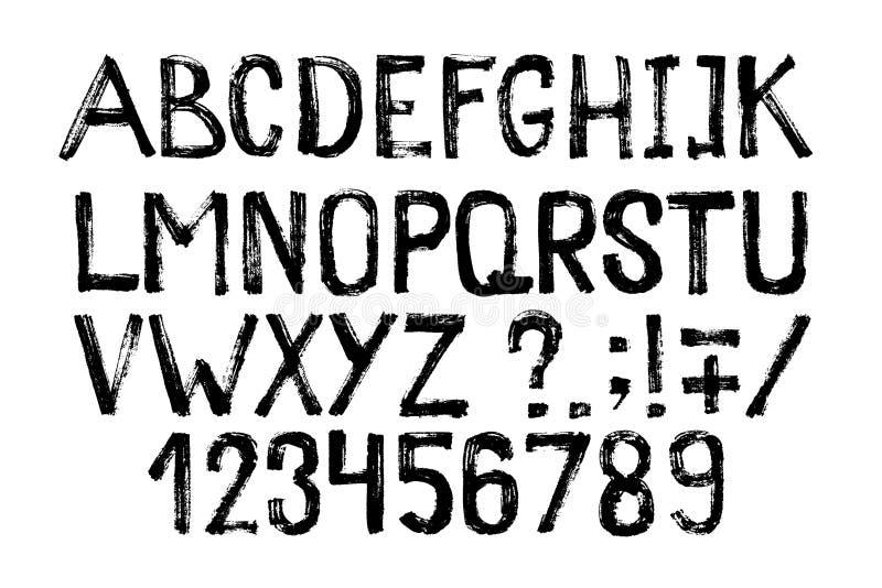 Hand getrokken highlighter doopvont Het moderne van letters voorzien Het alfabet en de cijfers van de Grungestijl Vector illustra stock illustratie
