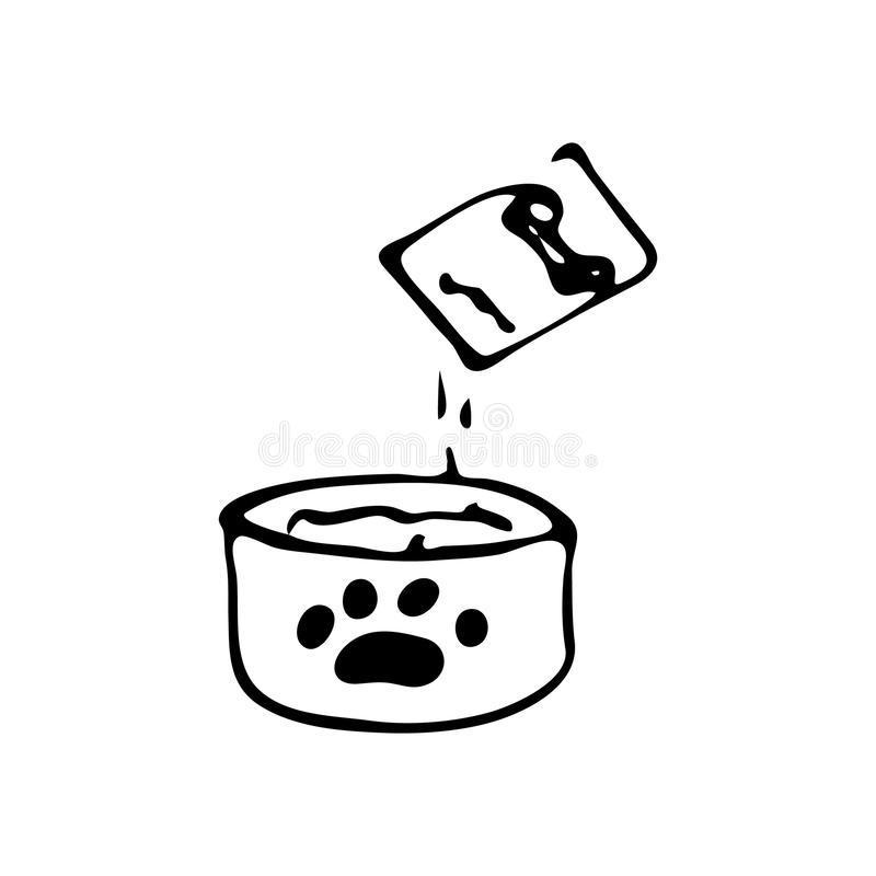 Hand getrokken Hondkom voor voerkrabbel Het pictogram van schetshuisdieren Decoratio stock illustratie