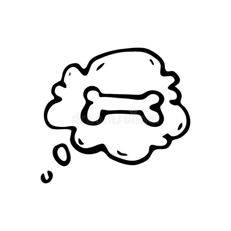 Hand getrokken hondsbeen in de wolkenkrabbel Het pictogram van schetshuisdieren DE royalty-vrije illustratie