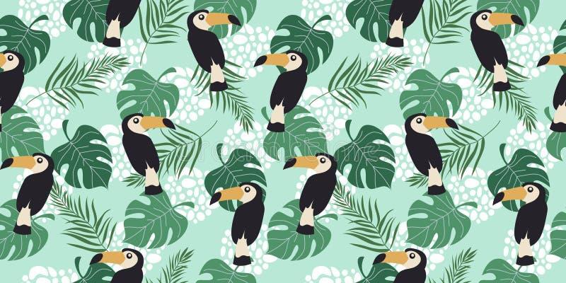 Hand getrokken horizontaal naadloos patroon met tropische vogels en bladeren op blauwe achtergrond Vector vlakke illustratie van vector illustratie
