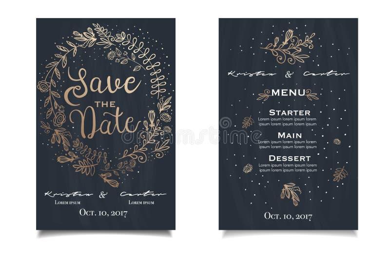 Hand getrokken huwelijks invitatoin kaart met tedere illustratie op dark vector illustratie