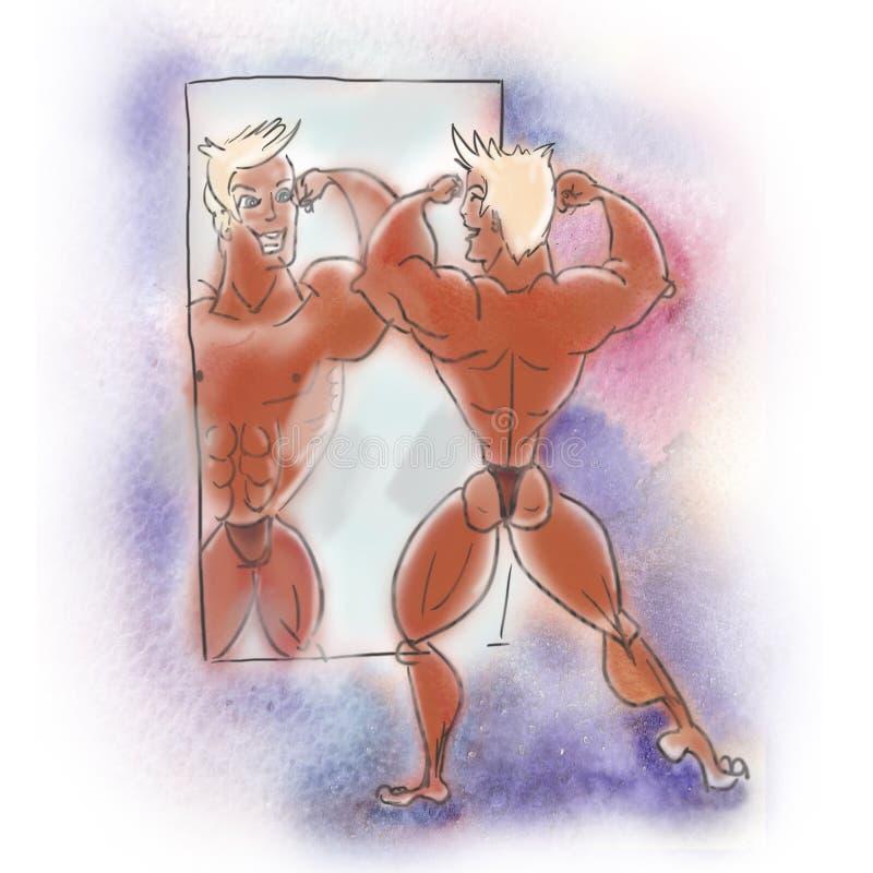 Hand getrokken illustratie Bodybuilder het stellen voor een spiegel vector illustratie