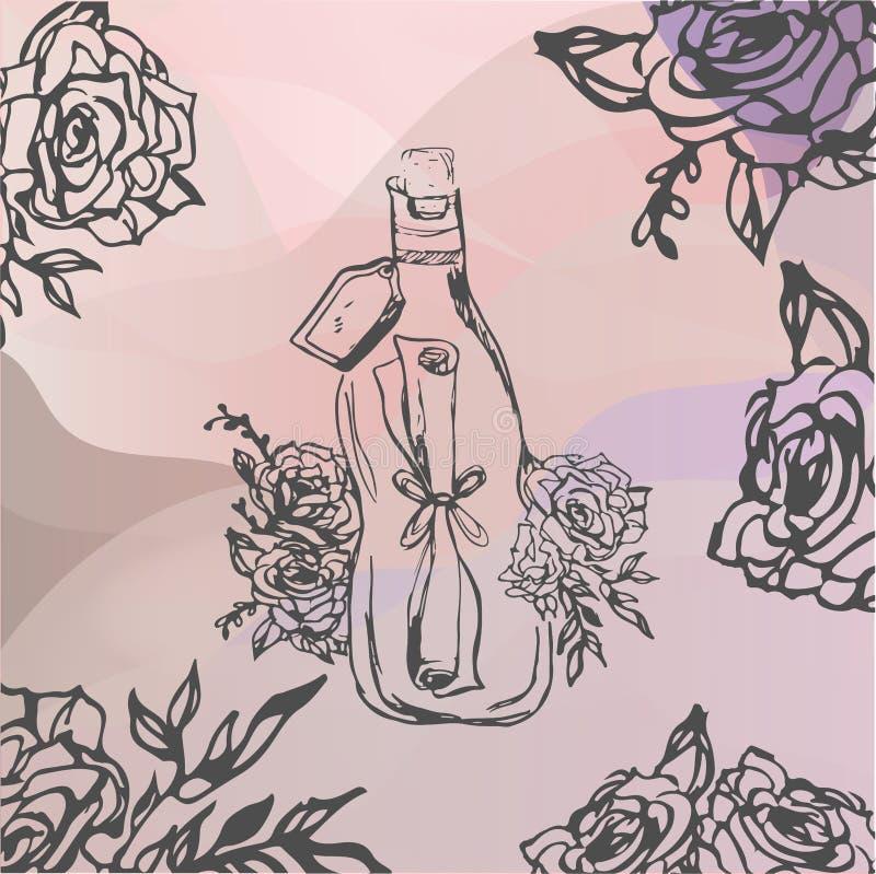 Hand getrokken illustratie brief in fles wordt verpakt die Tatoegering, stock fotografie