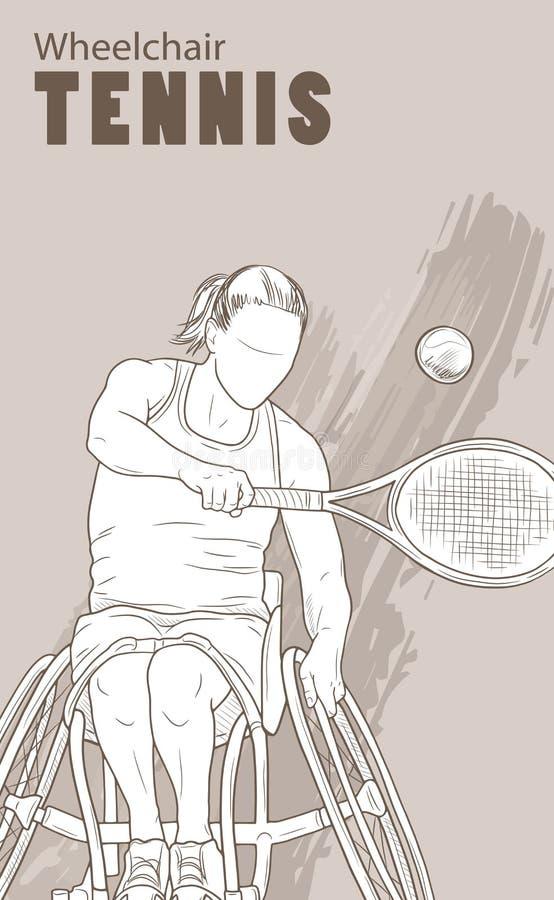 Hand getrokken illustratie De atleet van het rolstoeltennis Vectorschetssport Grafisch silhouet van gehandicapt meisje met a vector illustratie