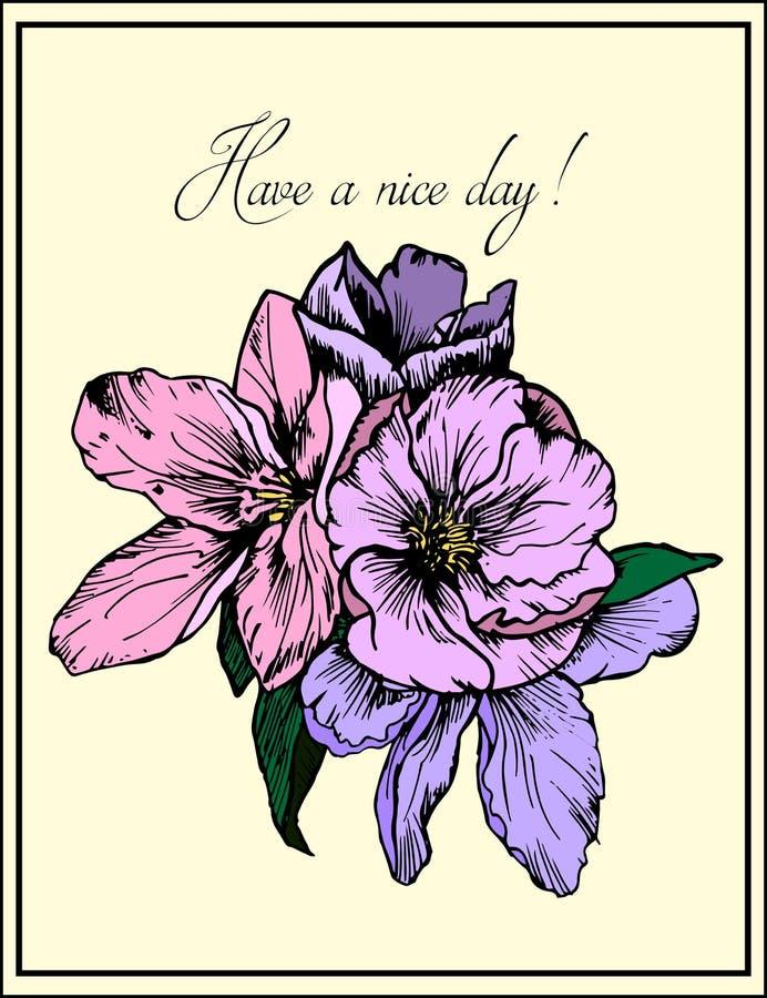 Hand getrokken illustratie Gevoelige roze en purpere bloemen De kaart van de groet Heb een aardige dag stock illustratie