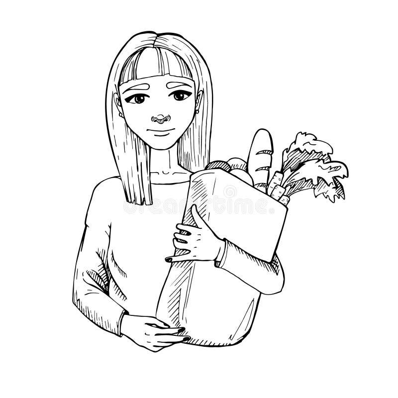 Hand getrokken illustratie Gezond het eten geheim van schoonheid jong stock illustratie