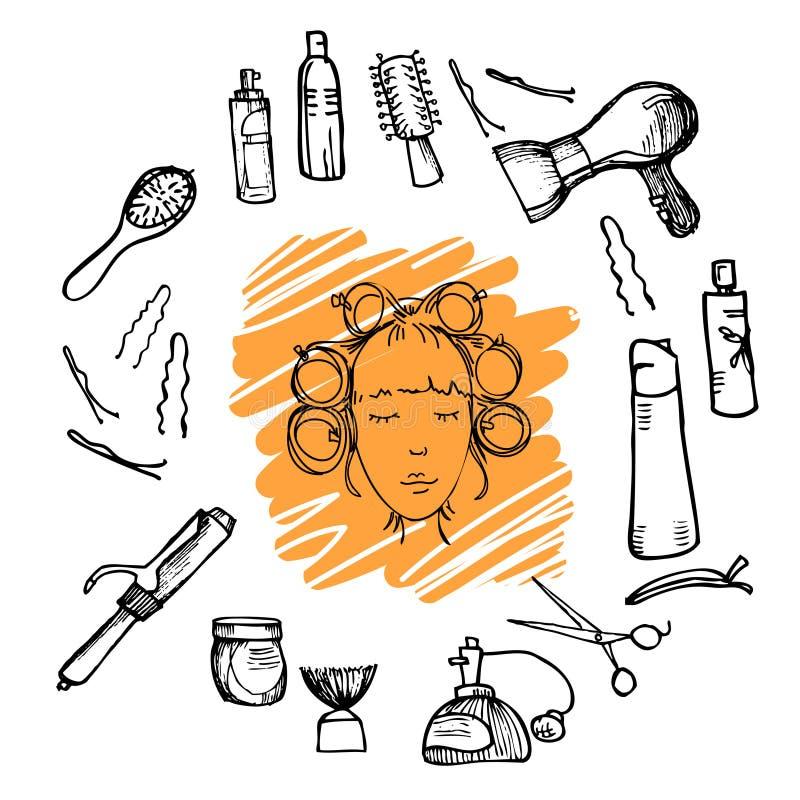 Hand getrokken illustratie - het Kappenhulpmiddelen (schaar, kammen, het stileren) en vrouw met haarrollen royalty-vrije illustratie
