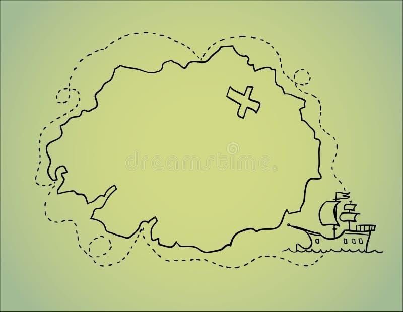 Hand getrokken illustratie - schatkaart Vector