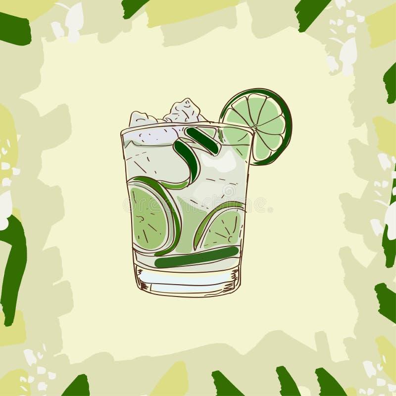 Hand getrokken illustratie van cocktail Caipirinha Naadloze bloemenachtergrond royalty-vrije illustratie