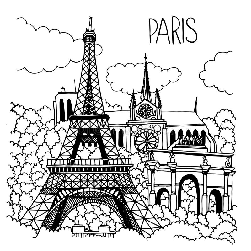 Hand getrokken illustratie van de oriëntatiepunten van Parijs stock illustratie