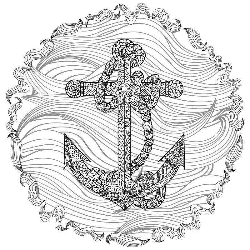 Hand getrokken illustratie van een anker en een kabel vector illustratie