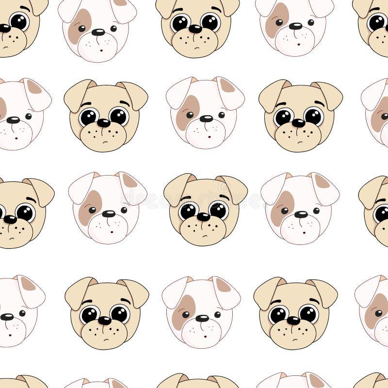 Hand getrokken illustratie van een leuke hond Vector naadloos patroon royalty-vrije stock foto's