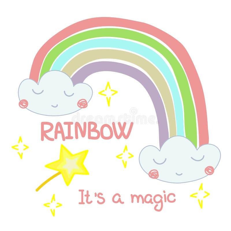 Hand getrokken illustratie van een regenboog uit de wolken stock illustratie
