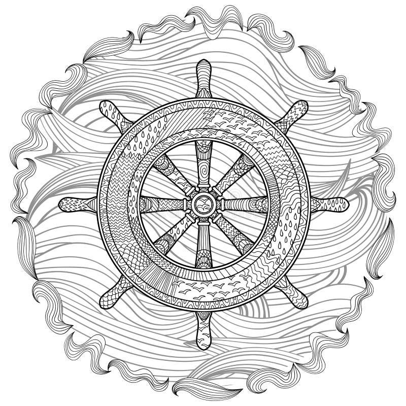 Hand getrokken illustratie van een roer royalty-vrije illustratie