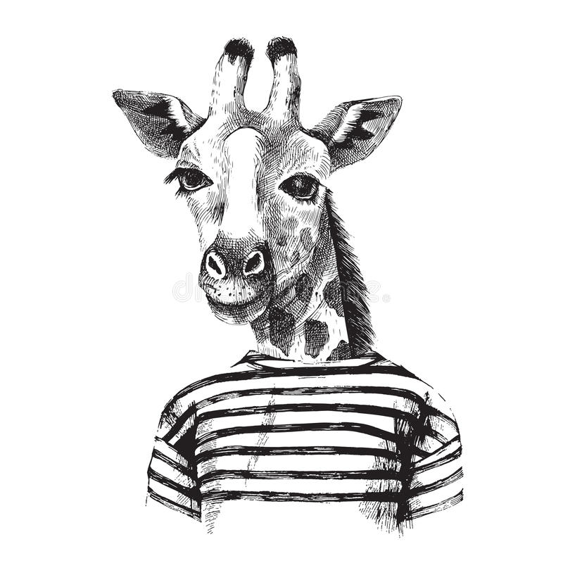 Hand getrokken Illustratie van giraf hipster vector illustratie