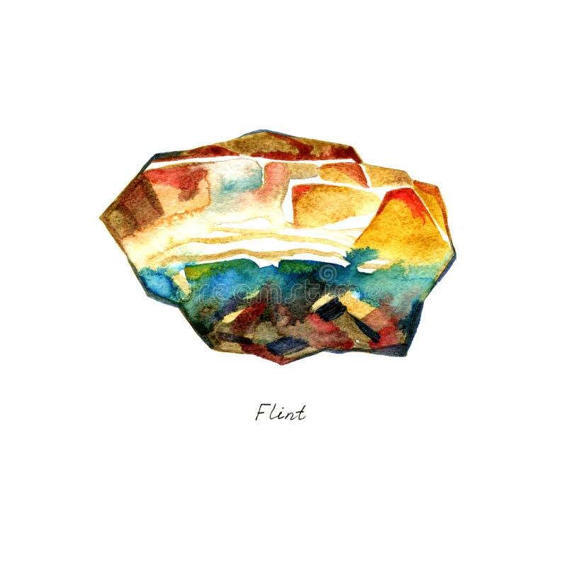 Hand getrokken illustratie van minerale vuursteensteen op witte achtergrond royalty-vrije illustratie
