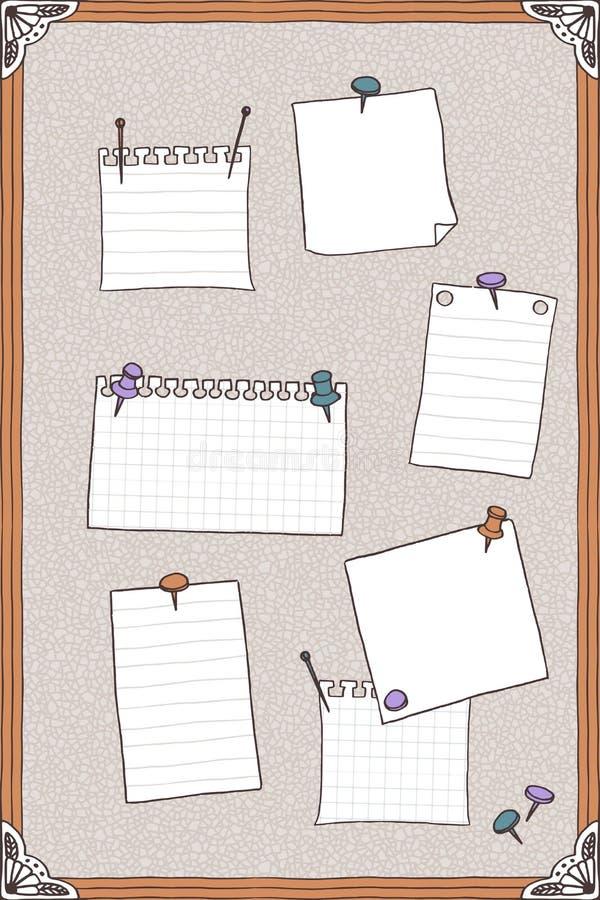 Hand getrokken illustratie van speldraad met spelden en lege notadocumenten stock illustratie