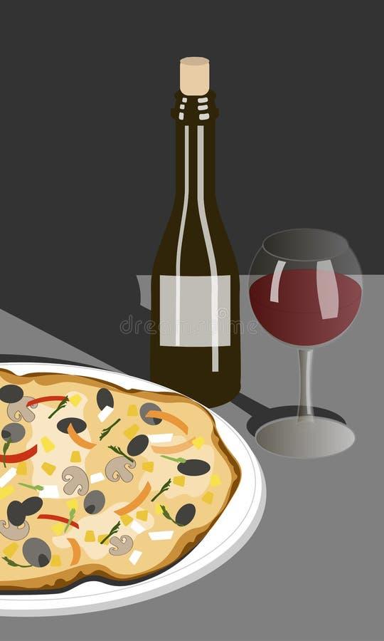 Hand getrokken illustratiefles van wijn en pizza royalty-vrije stock afbeeldingen
