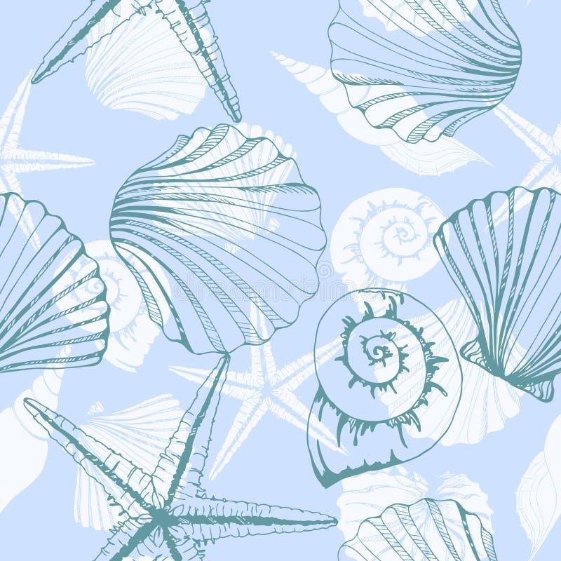 Hand getrokken illustraties - naadloos patroon van zeeschelpen Mariene achtergrond Vector Malplaatje vector illustratie