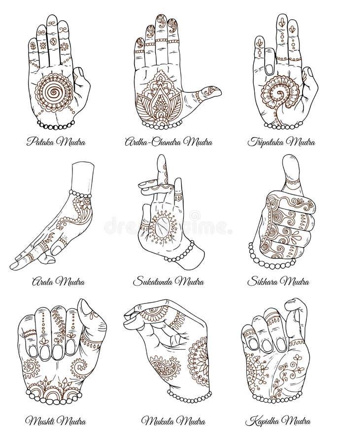 Hand getrokken inzameling met sacral mudras op wit royalty-vrije illustratie
