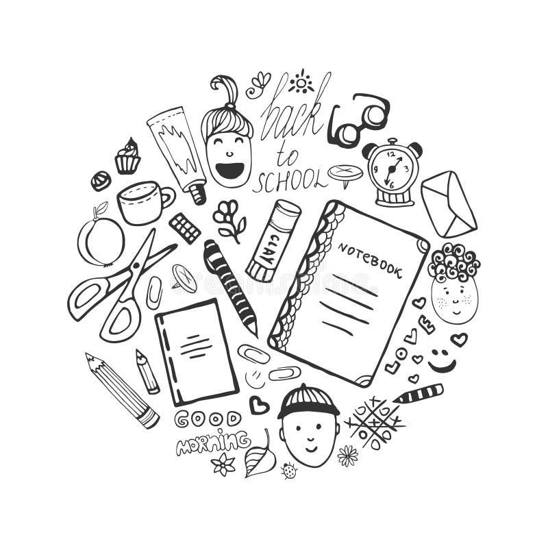 Hand getrokken inzameling met schoolkantoorbehoeften en kinderenpictogrammen Vectordiebureau in krabbelstijl wordt geplaatst Teru royalty-vrije illustratie