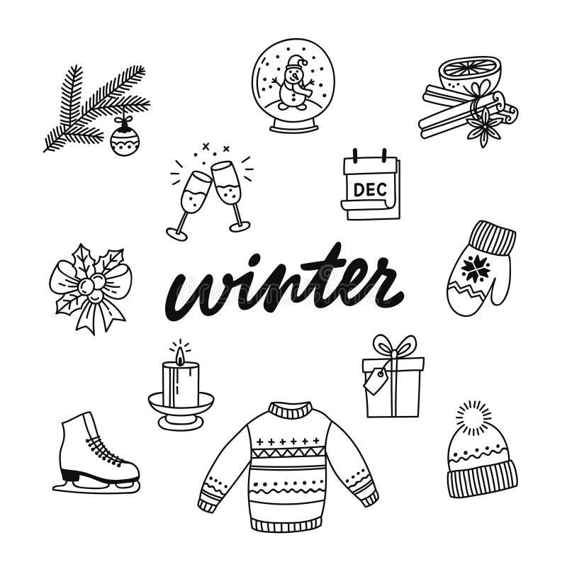 Hand getrokken inzameling van de winterattributen stock illustratie