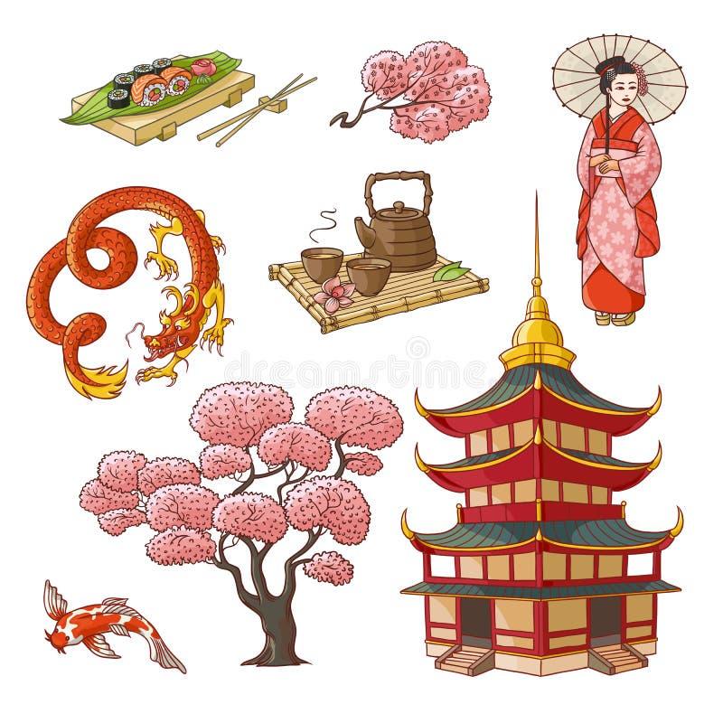 Hand getrokken Japanse cultuurelementen, symbolen royalty-vrije illustratie
