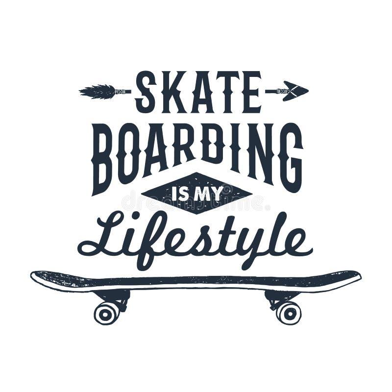 Hand getrokken jaren '90 als thema gehad kenteken met skateboard vectorillustratie royalty-vrije illustratie