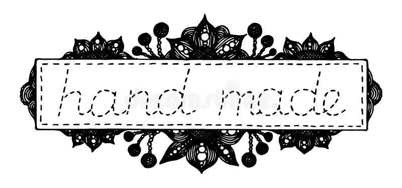 Hand getrokken kader, etiket of embleem met bloemen, bessen, naad en inschrijving 'gemaakte hand - ' stock illustratie