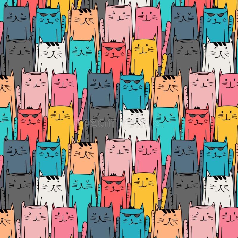 Hand getrokken katten vectorpatroon Krabbelart. royalty-vrije illustratie