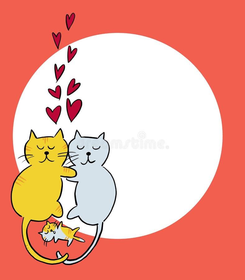 Hand getrokken kattenfamilie in liefde met katje en rode harten stock afbeelding