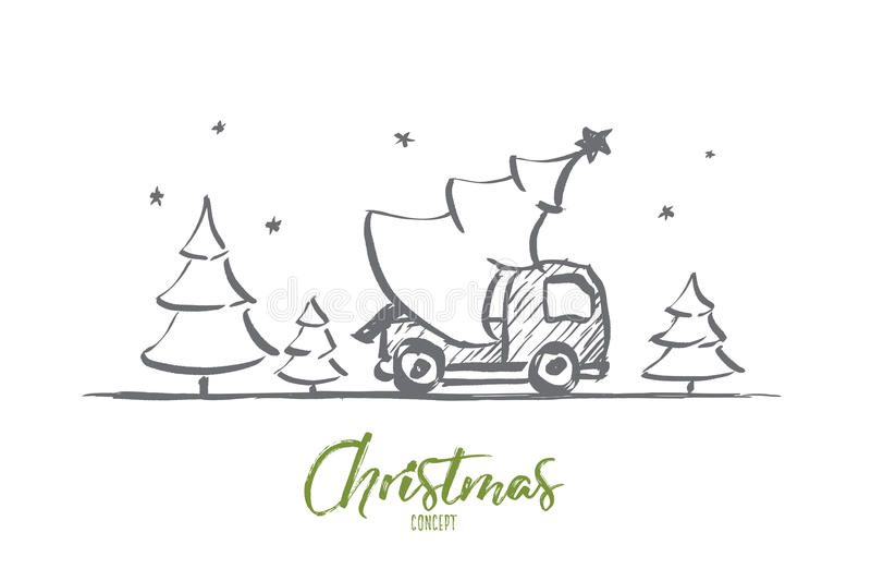 Hand getrokken Kerstboom in auto met het van letters voorzien stock illustratie