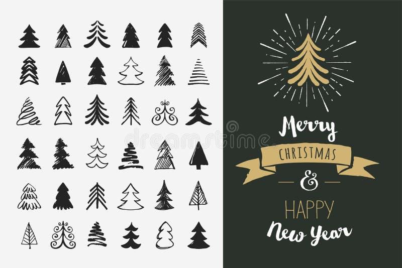 Hand getrokken Kerstboompictogrammen en elementen vector illustratie
