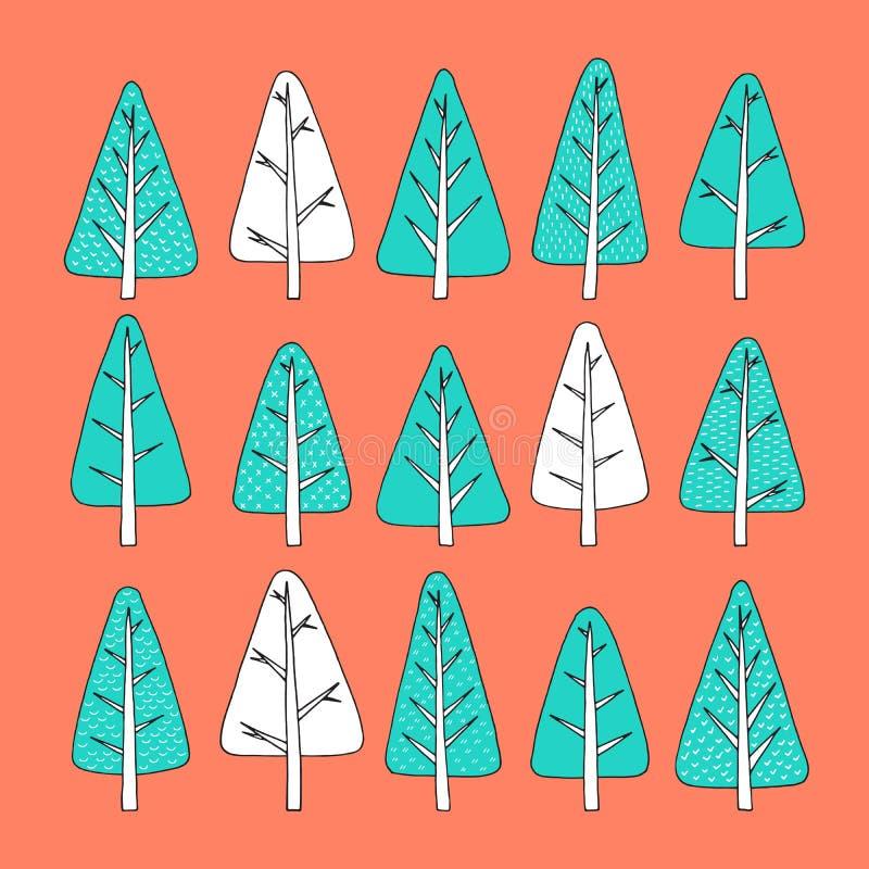 Hand getrokken Kerstboompictogrammen Krabbels en schetsen stock illustratie