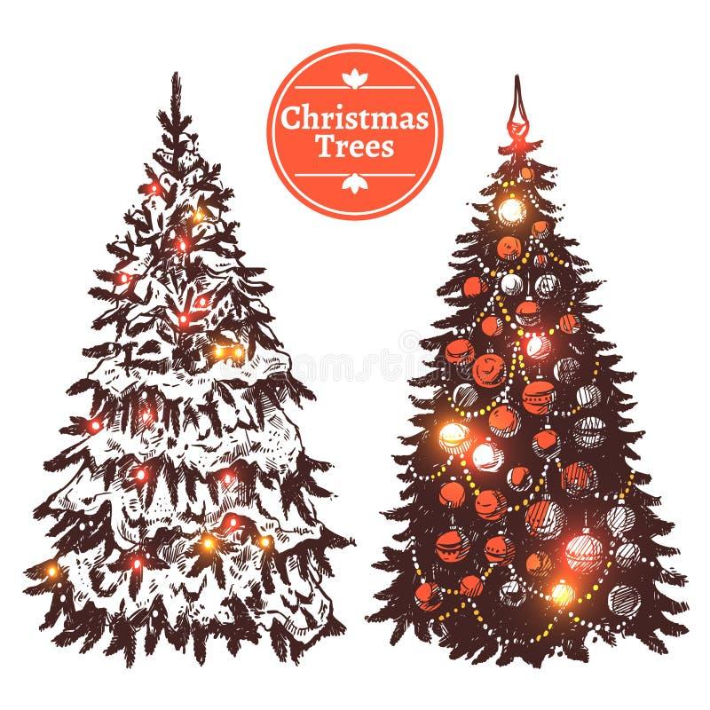 Hand Getrokken Kerstboomreeks stock illustratie