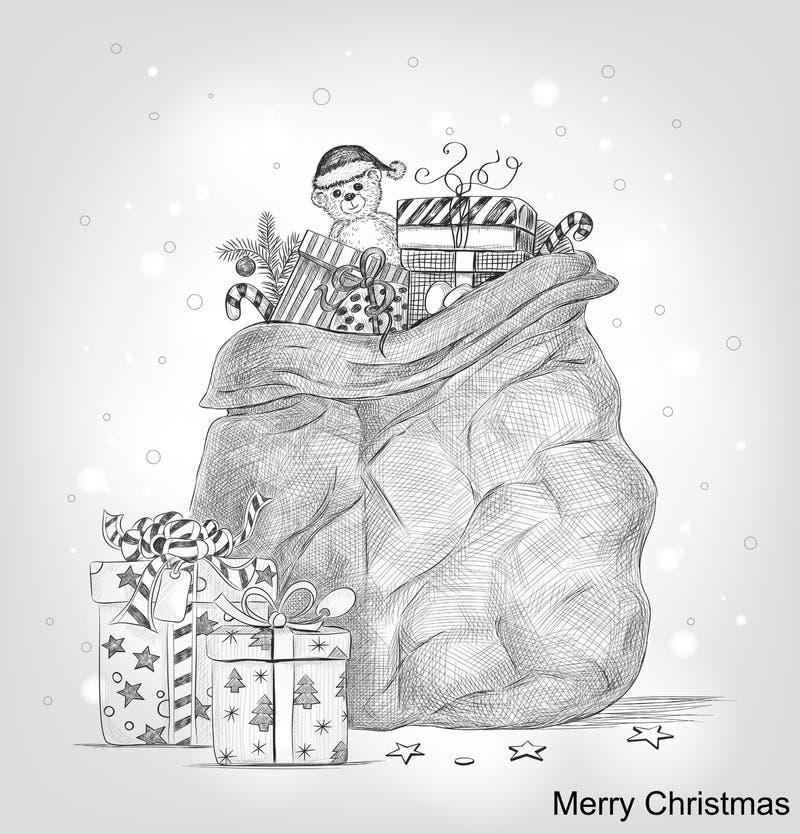 Hand getrokken Kerstkaart vector illustratie