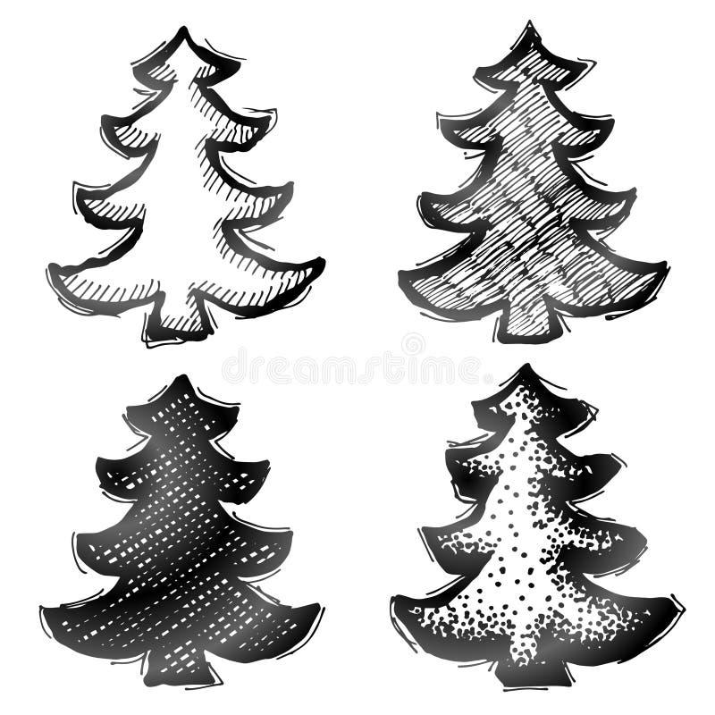 Hand getrokken Kerstmisboom royalty-vrije illustratie
